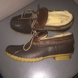 L L Bean boots duck shoes shearling lined USA Sz 7
